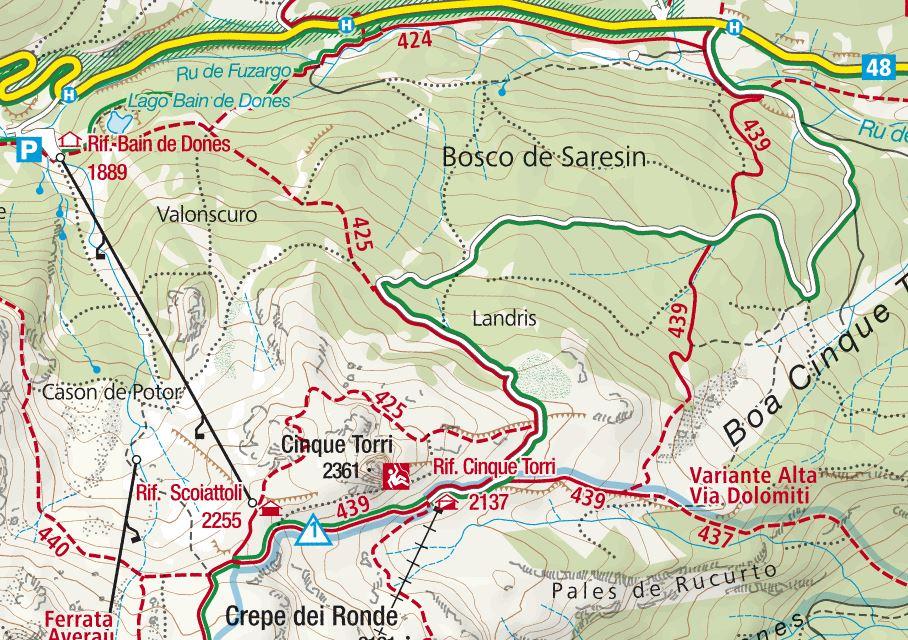 cartina cinque torri